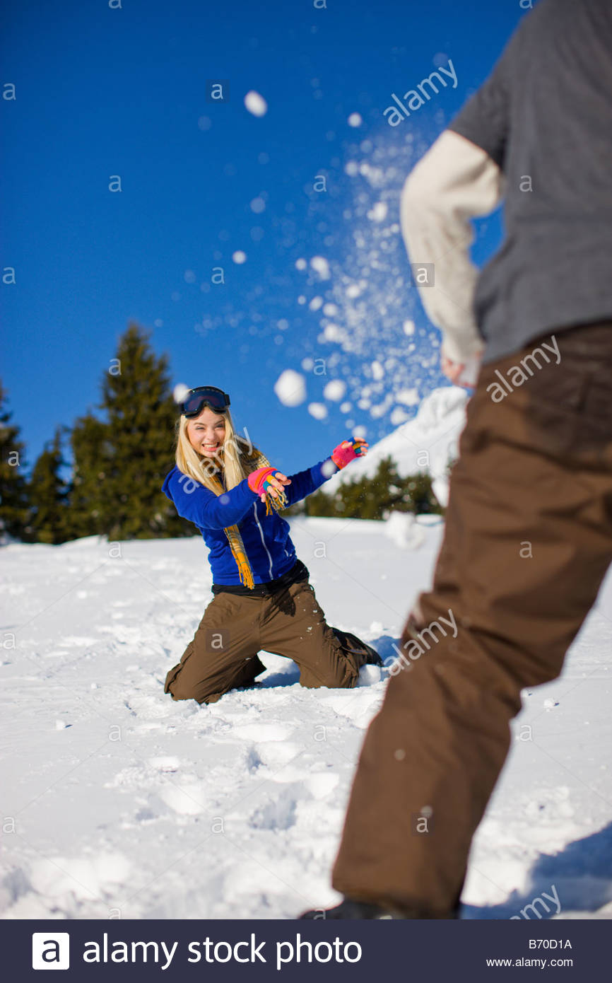 Two adolescents playing in the snow on Mt. Hood, Oregon. - Stock Image