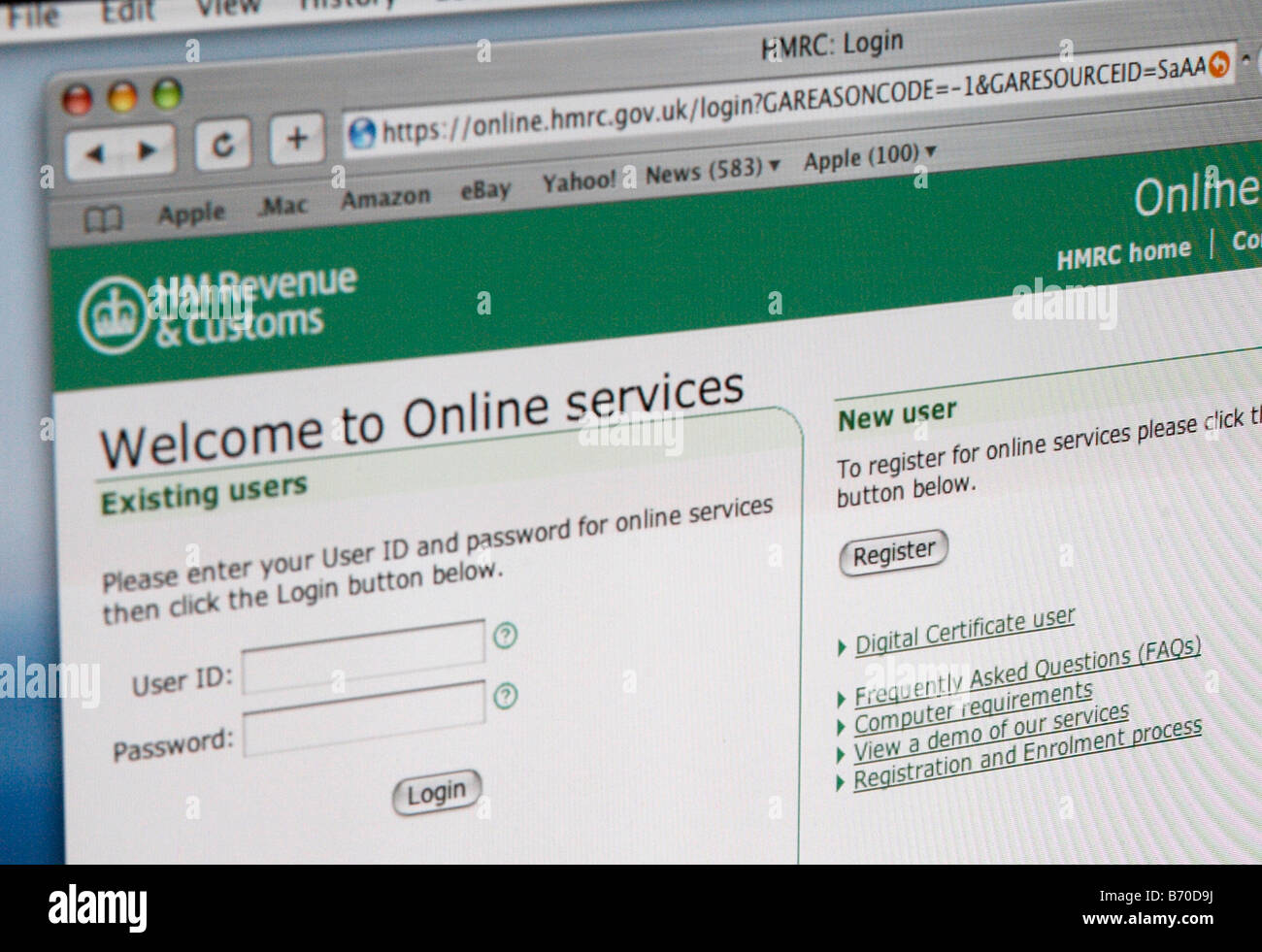 HM Revenue Customs website, log in page, tax payment, online Stock Photo