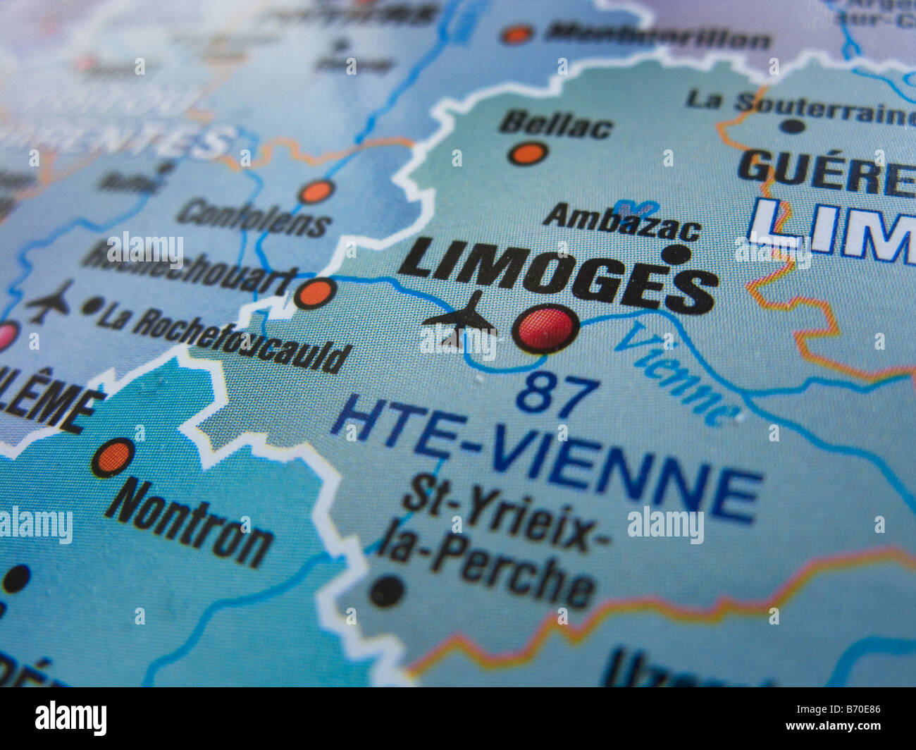 Map Of France Showing Limoges And Its Surrounding Areas Stock Photo - Limoges france map