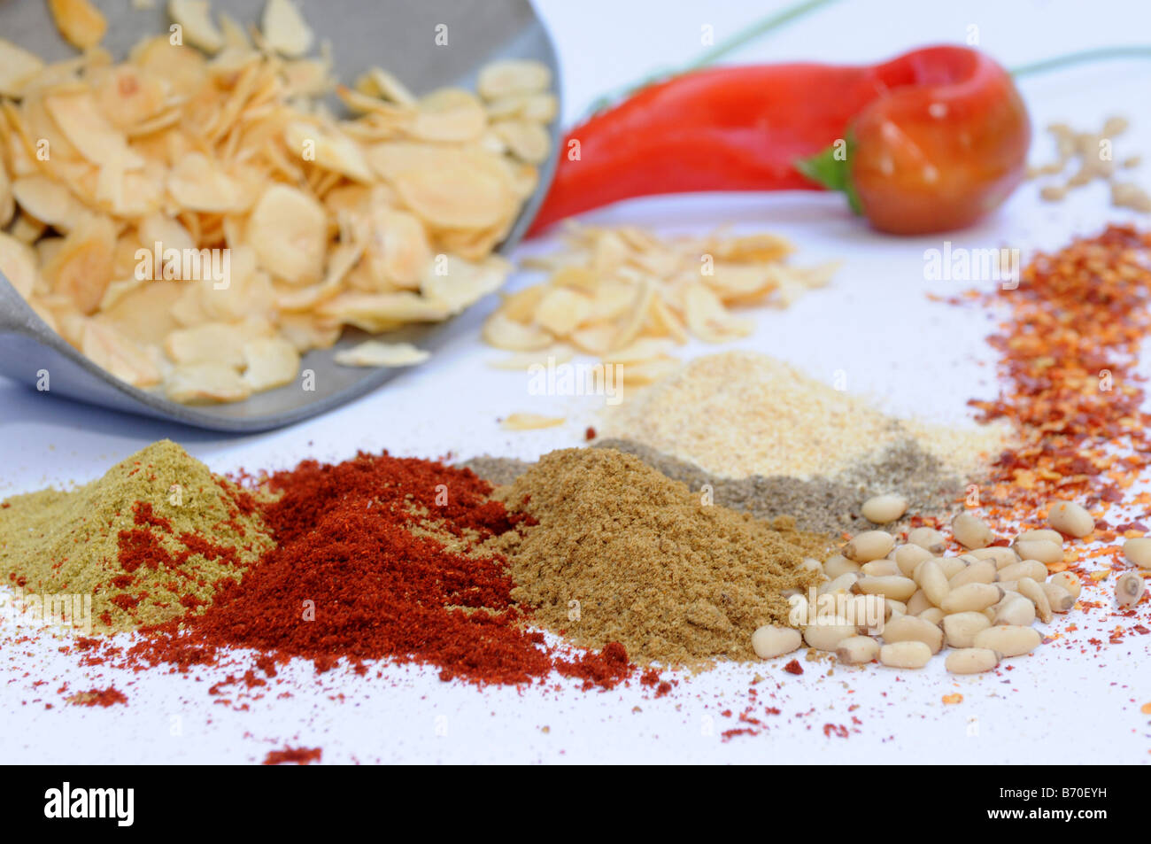 Still life of herbs and spices - Stock Image