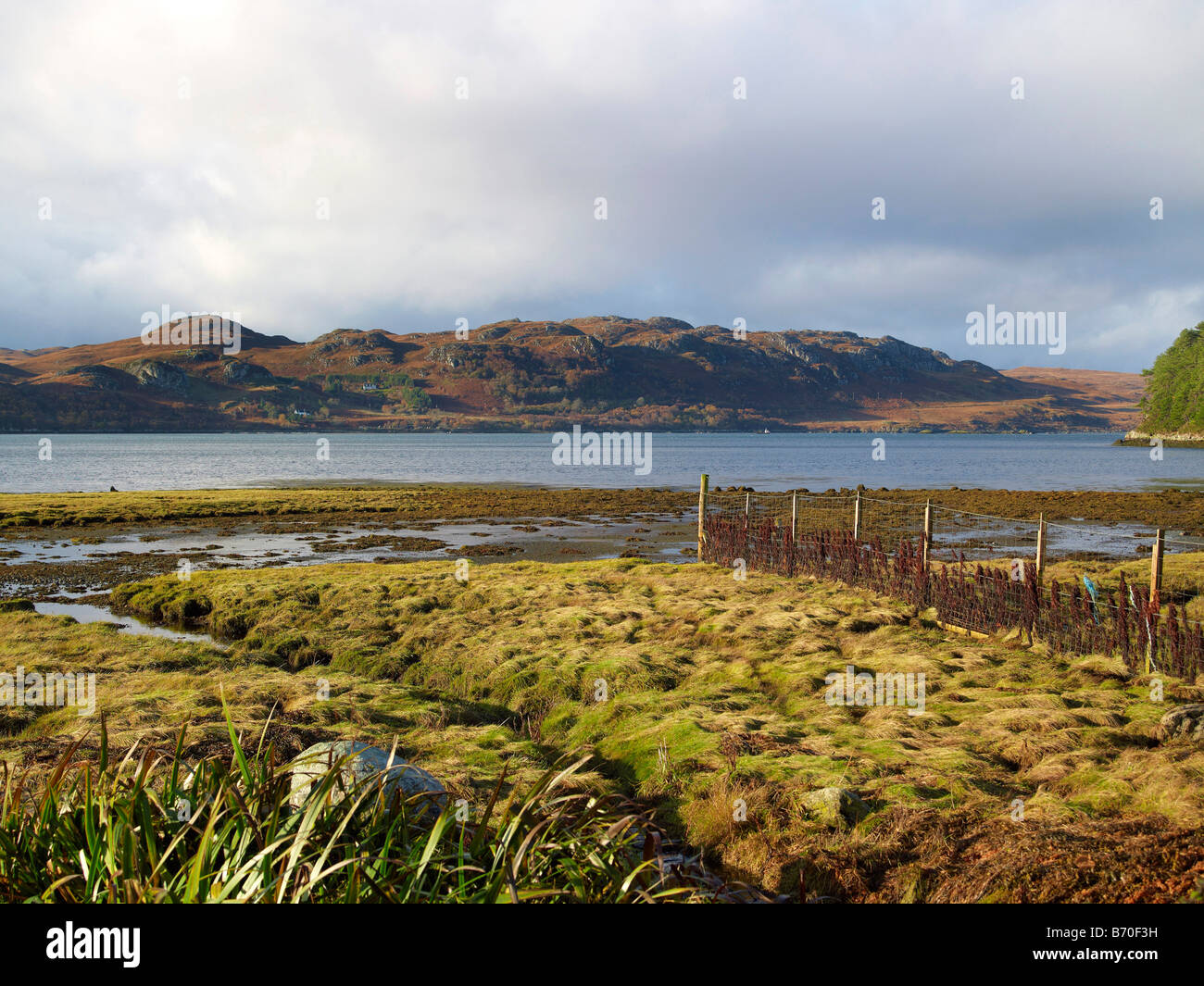 Shoreline at Poolewe and Loch Ewe, Wester Ross, North West Scotland Stock Photo