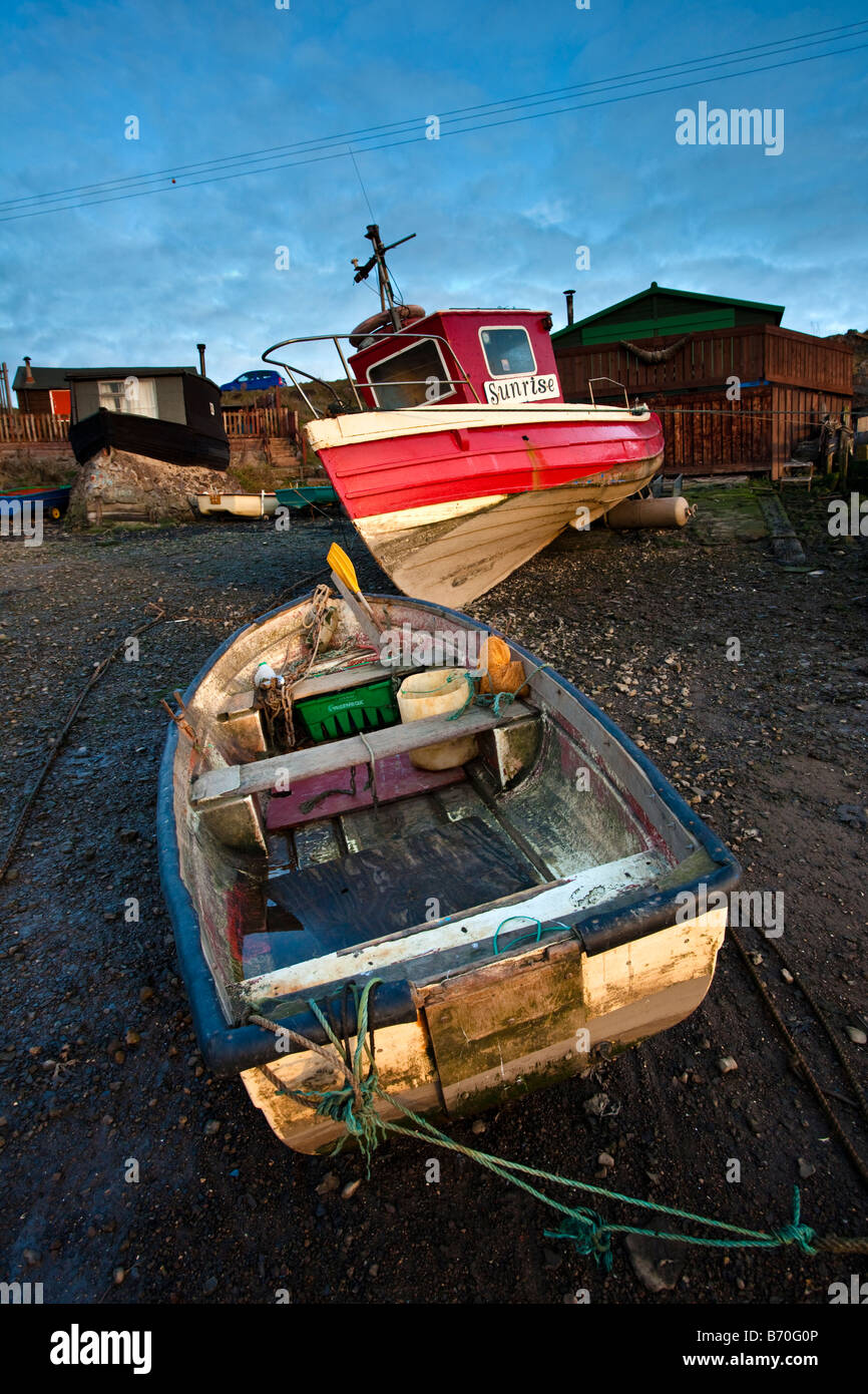 Beached Boats Paddys Hole Teesmouth Redcar Cleveland - Stock Image