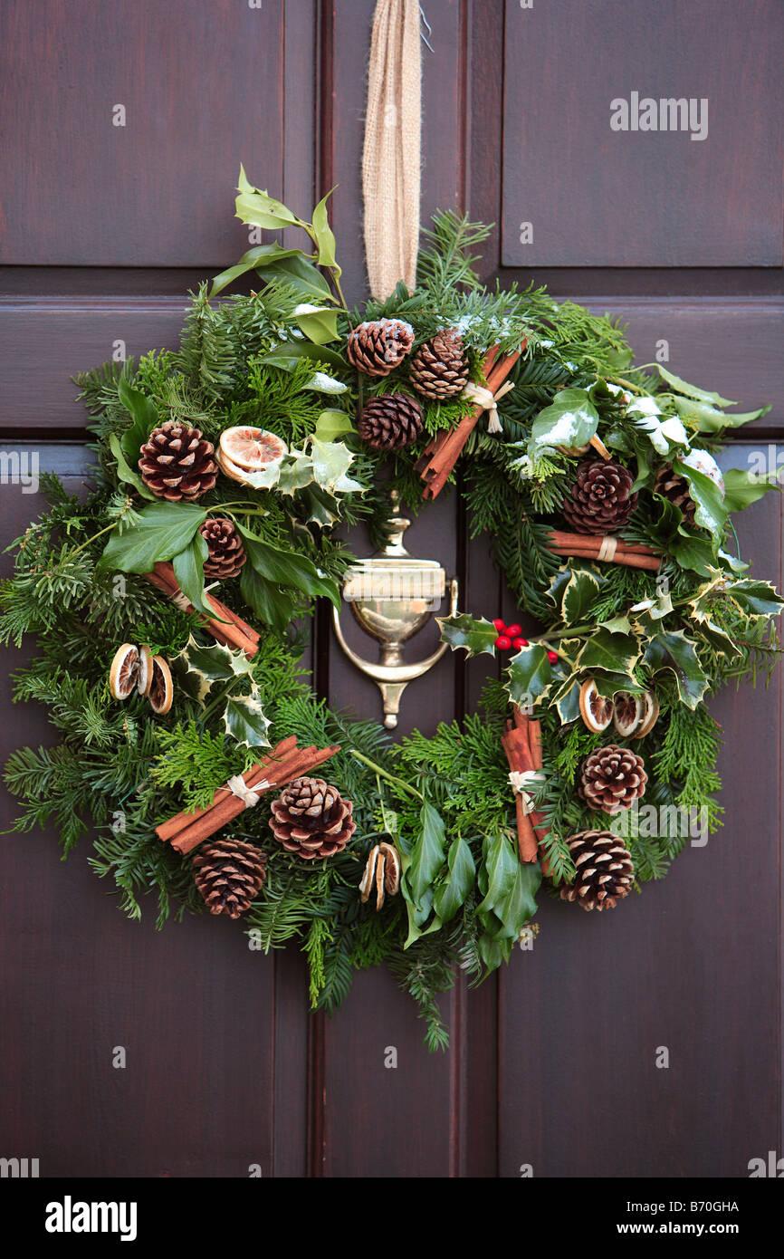Christmas Wreath On Front Door Stock Photo 21525990 Alamy