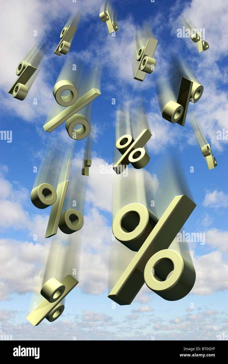 Interest percentage rates symbols falling against a blue sky - digital composite - Stock Image