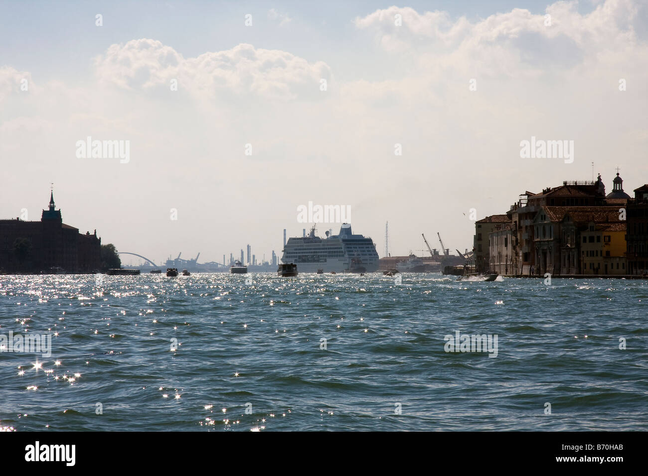 view from Giudecca looking west towards Bacino Stazione Maritima, Venice, Italy - Stock Image