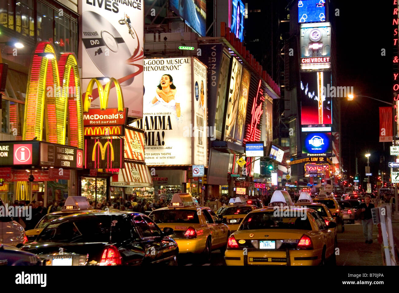 Broadway theatres in midtown Manhattan New York City New York USA - Stock Image