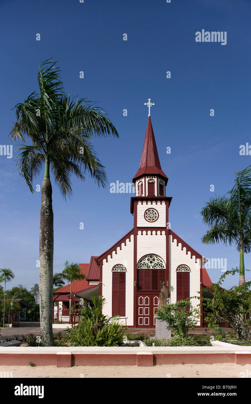 Suriname, Paramaribo, Catholic church, called Sint Alfonsius, in the historic inner city. - Stock Image