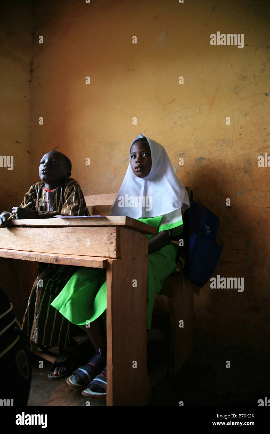 Pupils from the Islamic school in Sunyani Ghana listening to the teacher In Ghana coranic schools were transformed - Stock Image