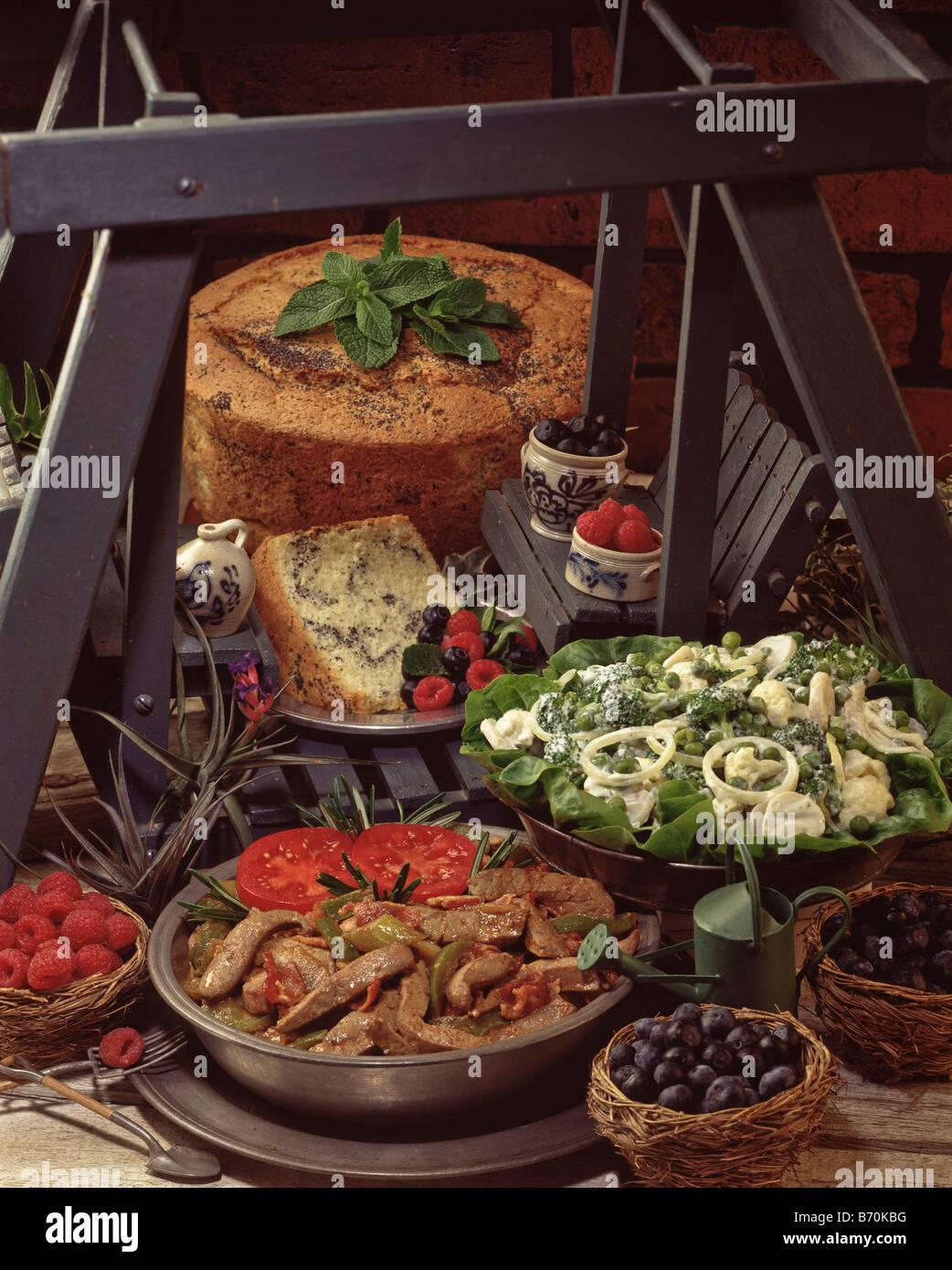 Recipes, cauliflower & broccoli salad, liver you'll love, poppy seed swirl chiffon cake dessert vegetable - Stock Image
