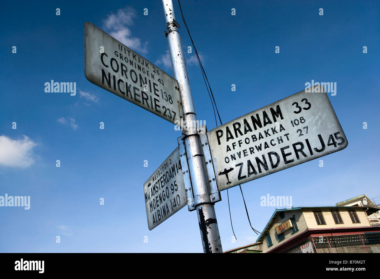Suriname, Paramaribo, roadsigns in Dutch language in city center. - Stock Image