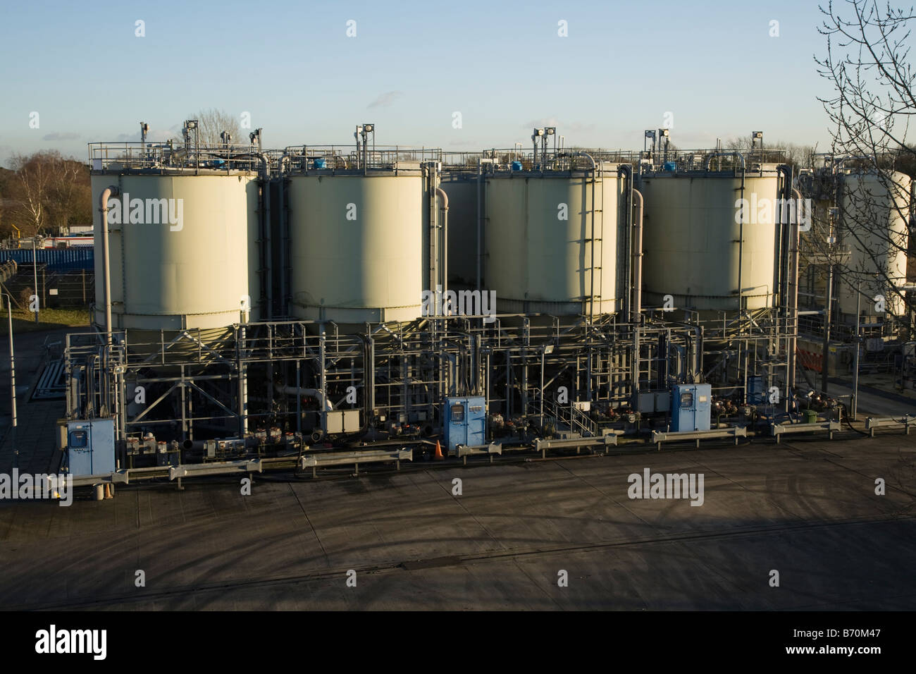 Water vessels at Thames Water treatment works, Kempton Park, Middlesex. UK. (44) Stock Photo