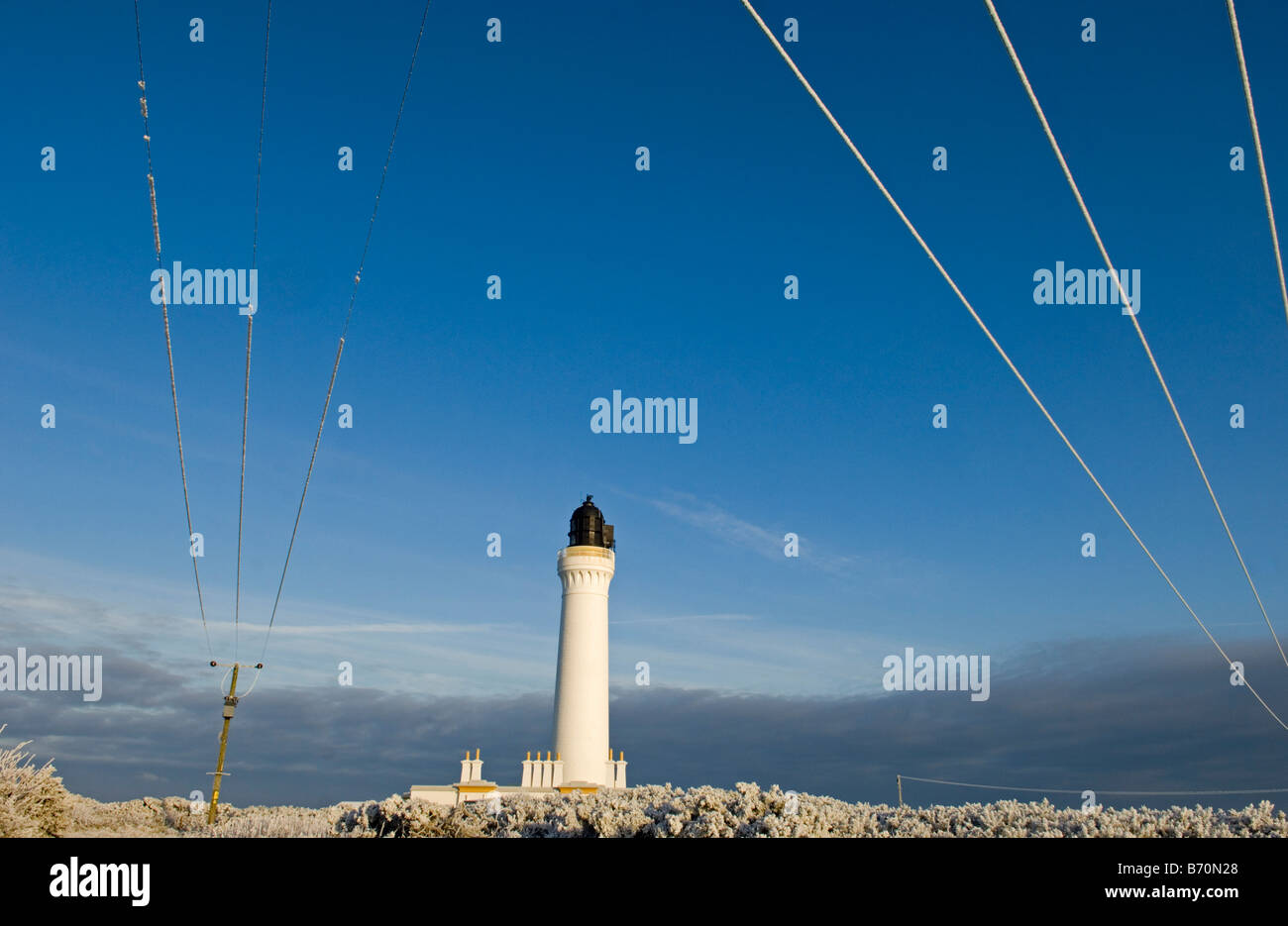 Covesea Skerrie Lighthouse on the east coast of scotland on a freezing winters day - Stock Image