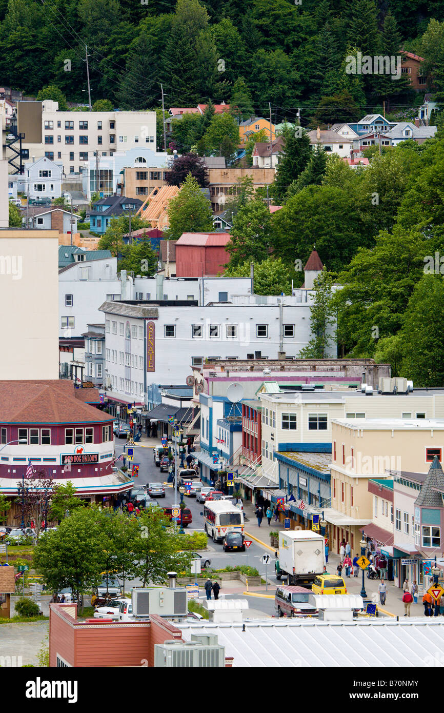 View of busy street next to cruise ship terminal in Juneau, Alaska, USA - Stock Image