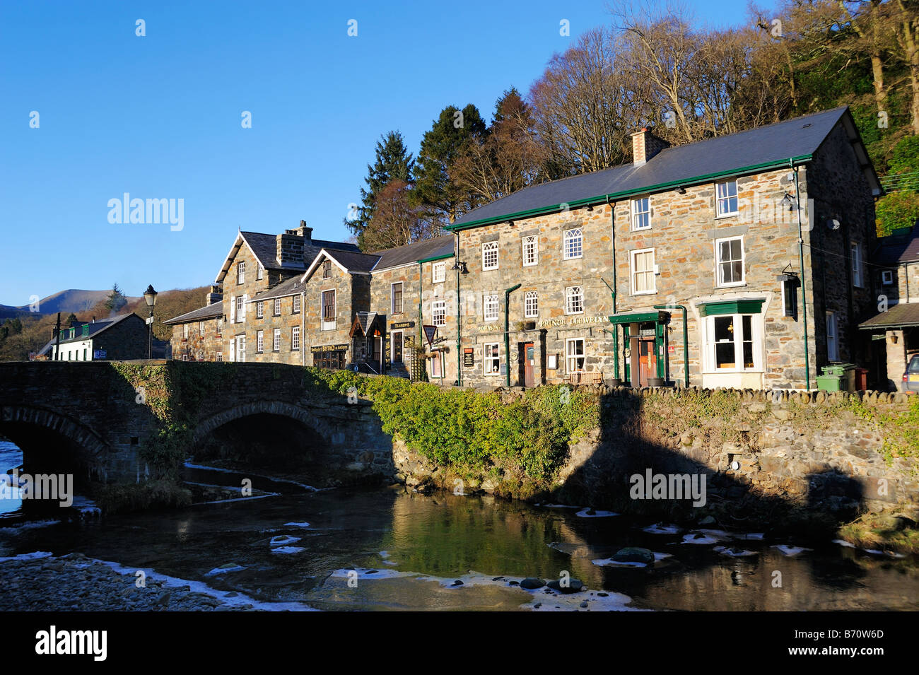 Beddgelert, the village beside the Afon Colwyn, a tourist attraction in the Snowdonia National Park. - Stock Image