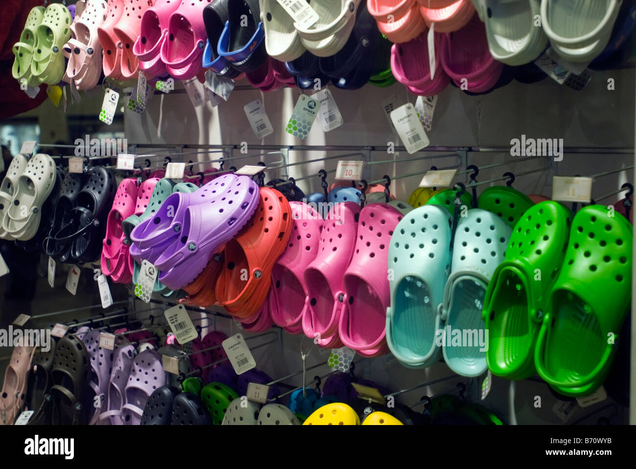 5e00ca3b8 A display of Crocs footwear is seen in a sporting goods store in New York