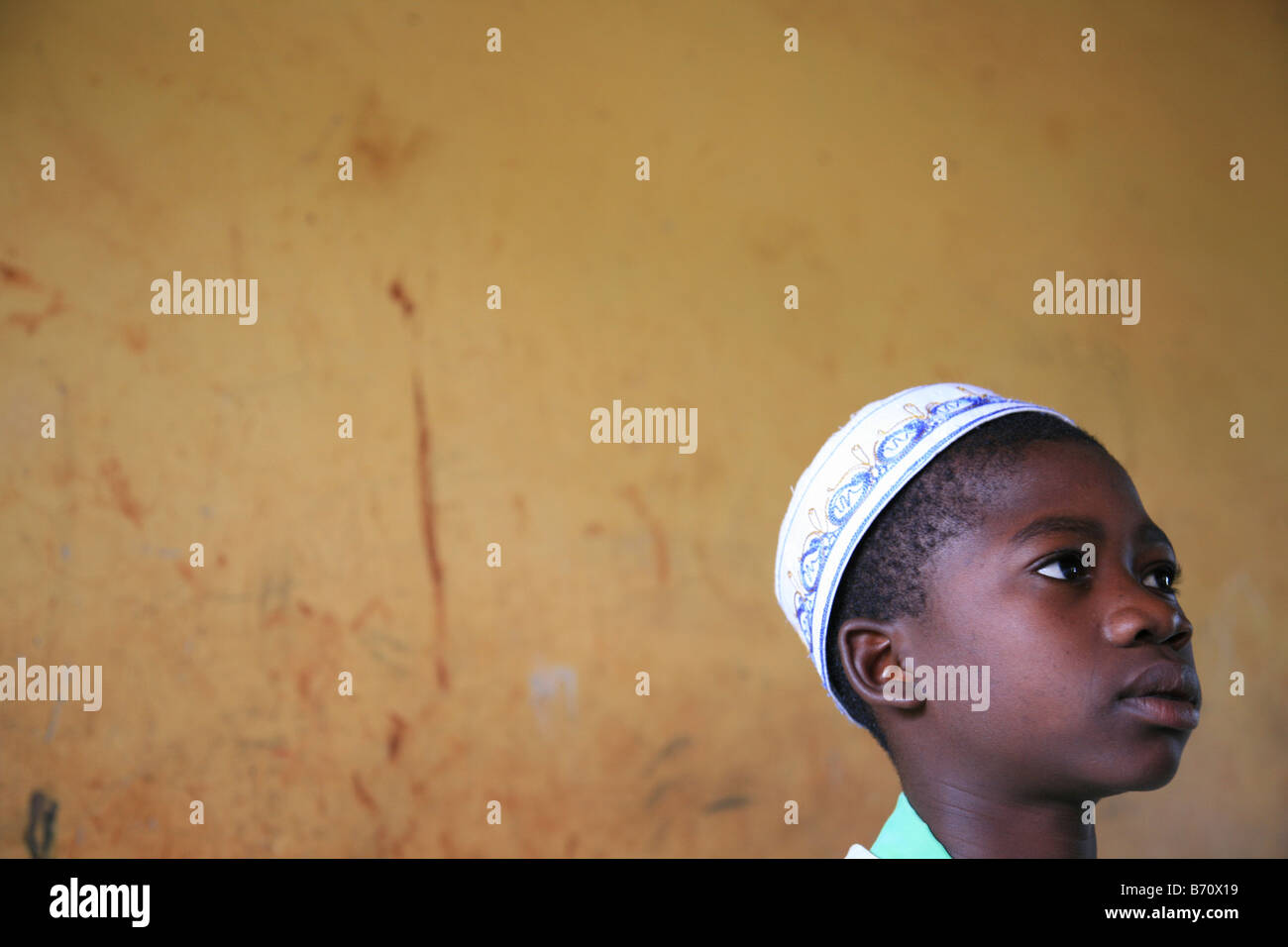 Pupil from the Islamic school in Sunyani Ghana listening to the teacher In Ghana coranic schools were transformed - Stock Image