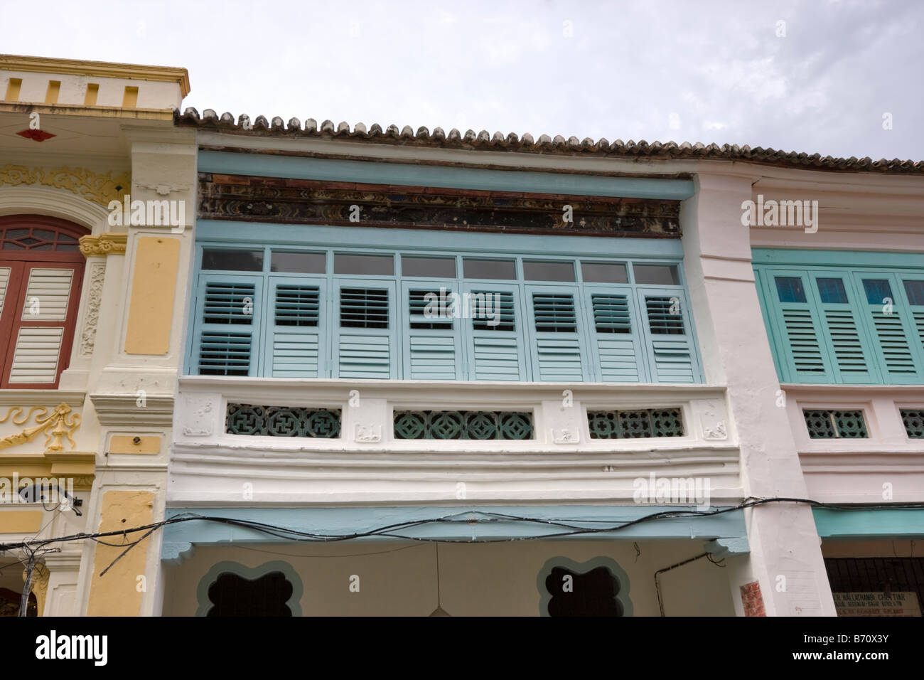 Upper stories of shophouses on Armenian Street, Georgetown, Penang Malaysia - Stock Image