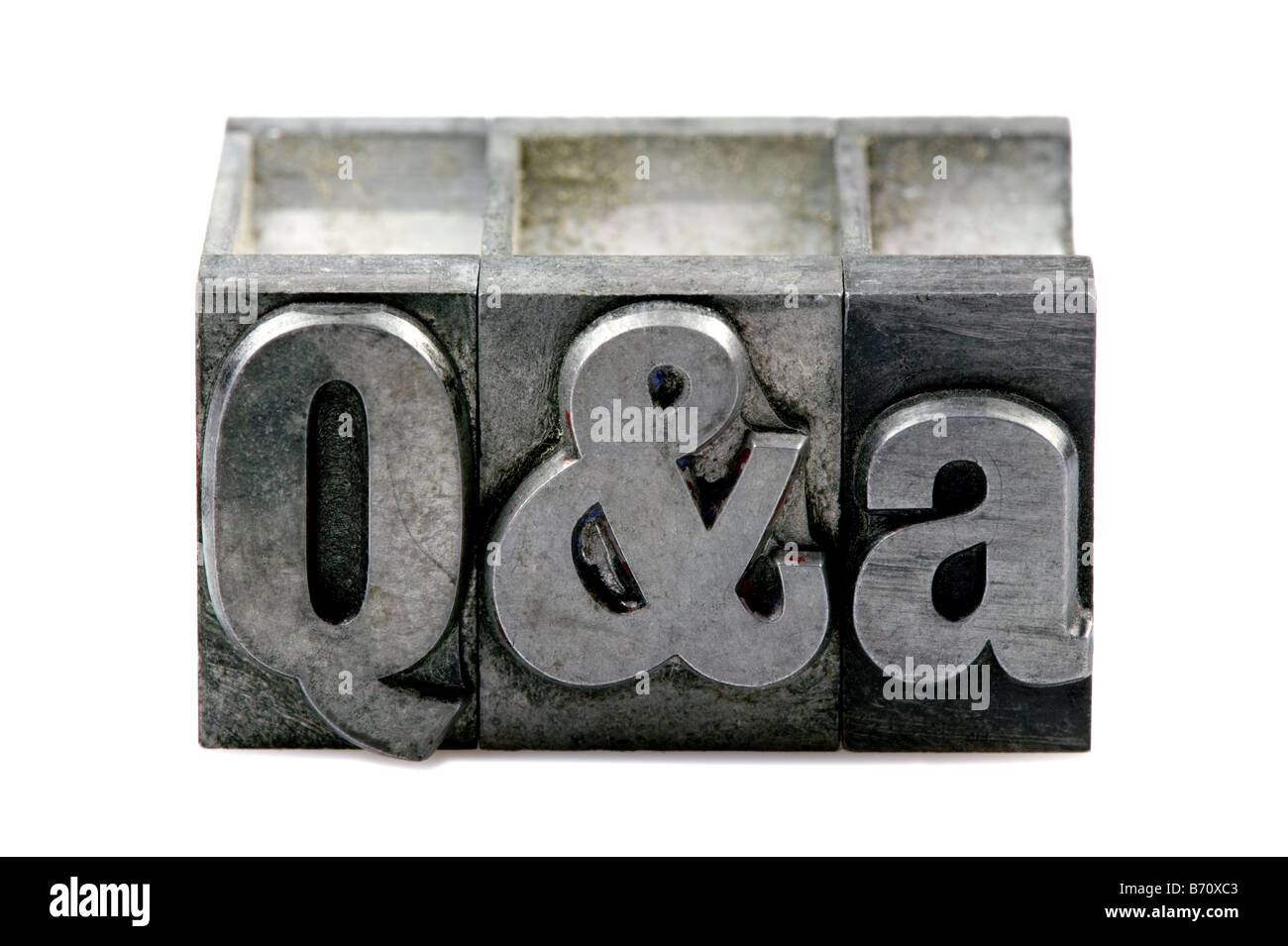 The letters Q A in old letterpress printing blocks isolated on a white background - Stock Image