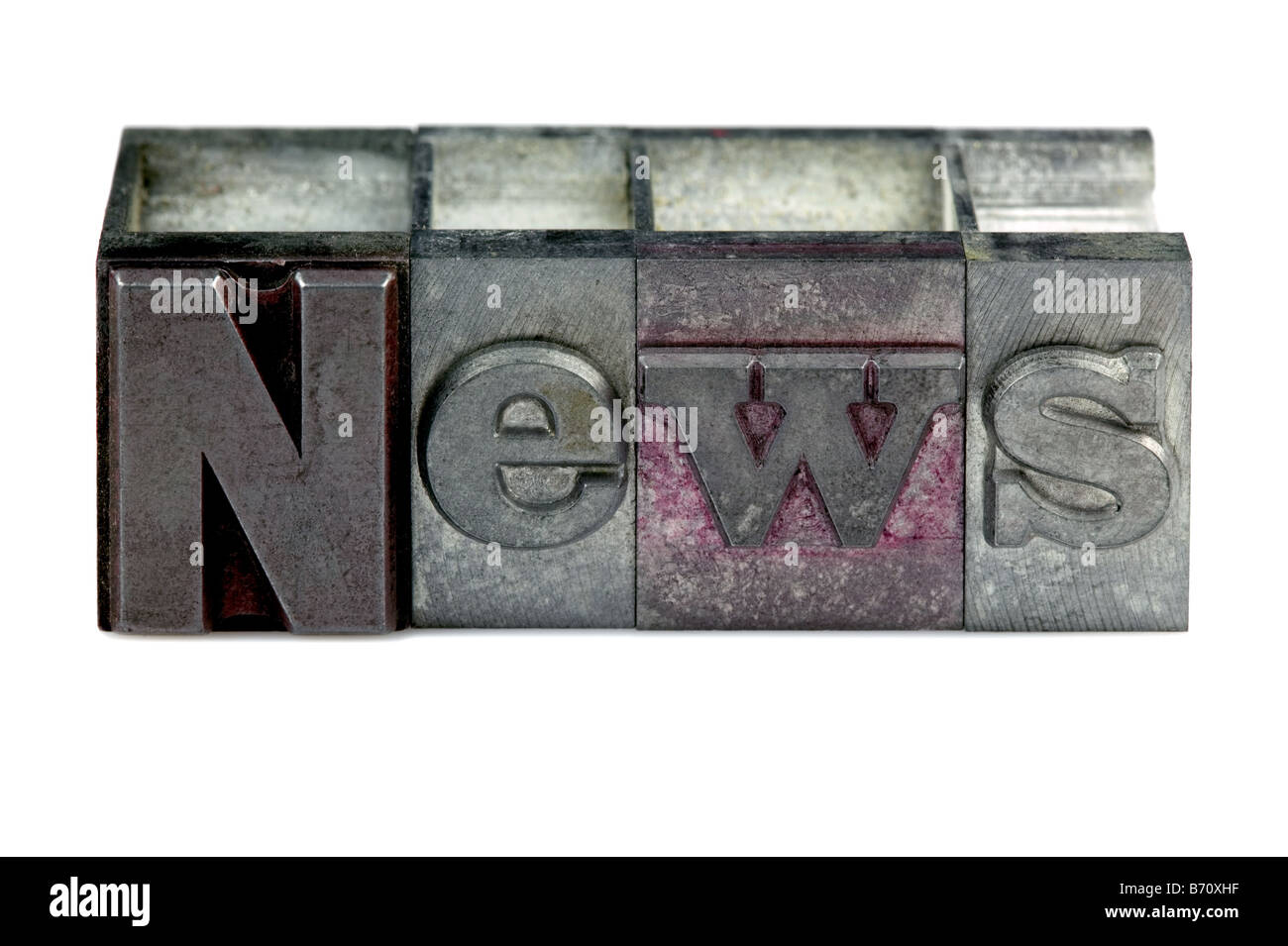 The word News in old letterpress printing blocks isolated on a white background - Stock Image