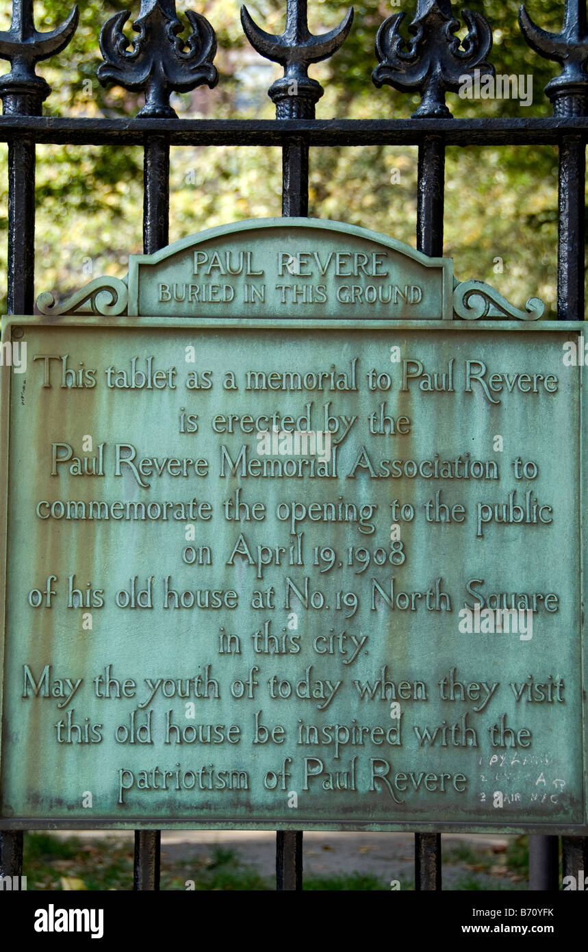 A marker for Paul Revere at The  Old Granary Burying Ground, Boston, Massachusetts - Stock Image