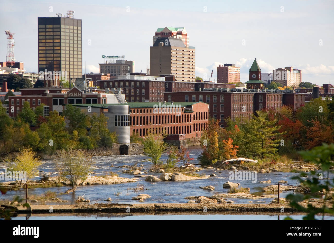 Merrimack River and mill district at Manchester New Hampshire USA - Stock Image