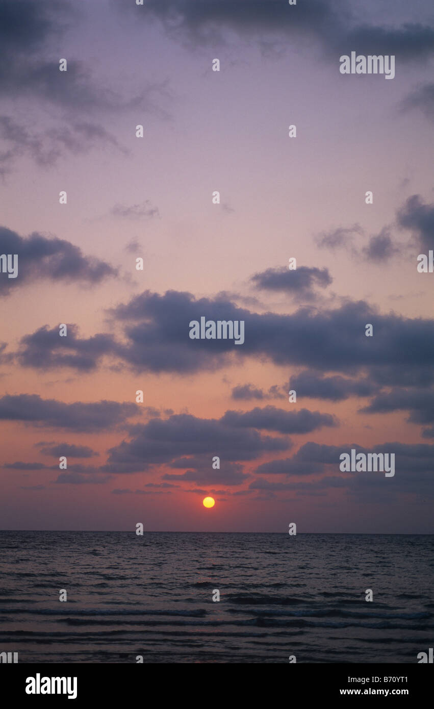 Tropical sunset from an island in the Gulf of Thailand - Stock Image