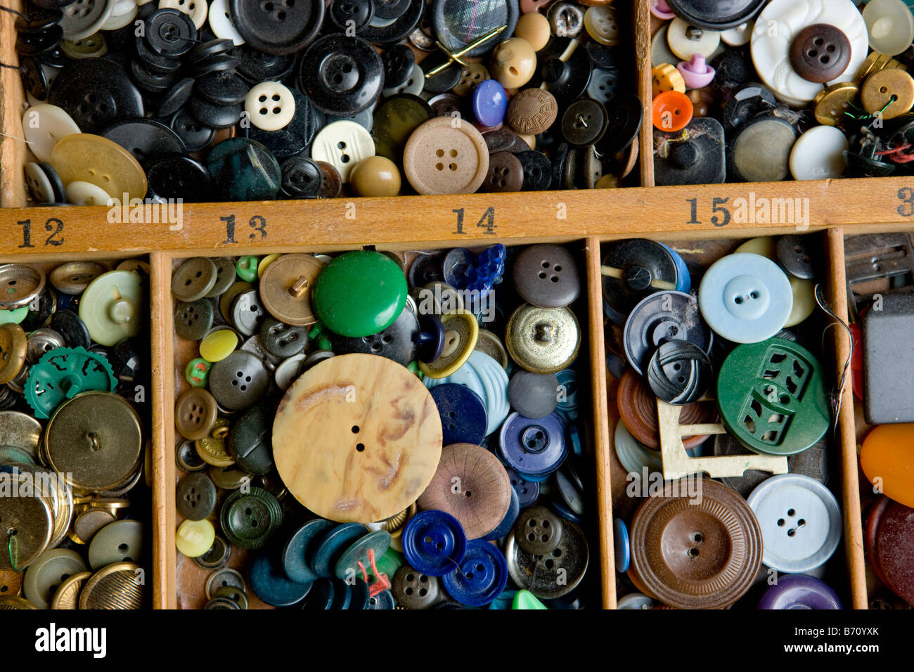 A Collection of Multi Colored Buttons - Stock Image