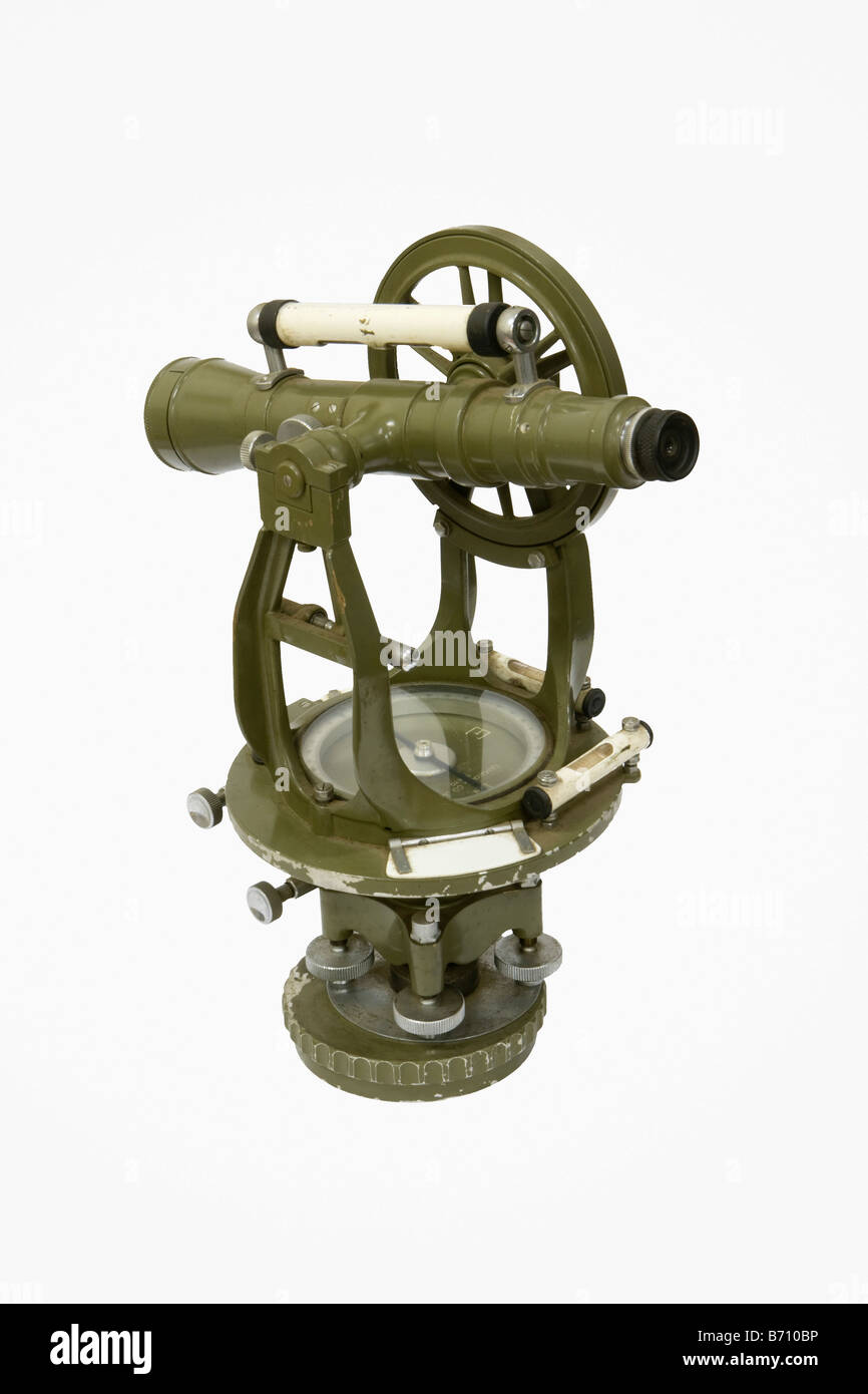 Suriname, Paramaribo, Theodolite from 1930, an instrument for measuring both horizontal and vertical angles. - Stock Image
