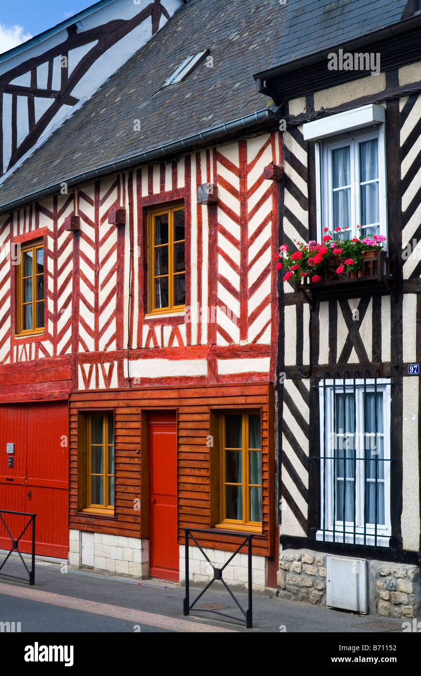 Traditional half timbered cottages in Touques Normandy Northern France - Stock Image