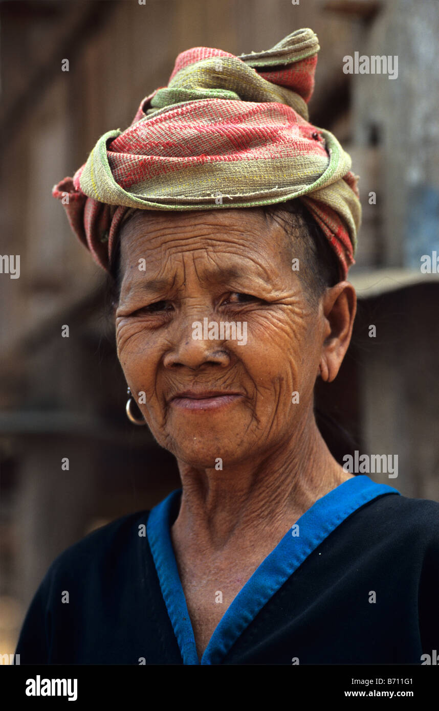 Portrait of an Old Hmong Woman in the Upland Lao Village of Khamu, Luang Prabang Province, Laos - Stock Image