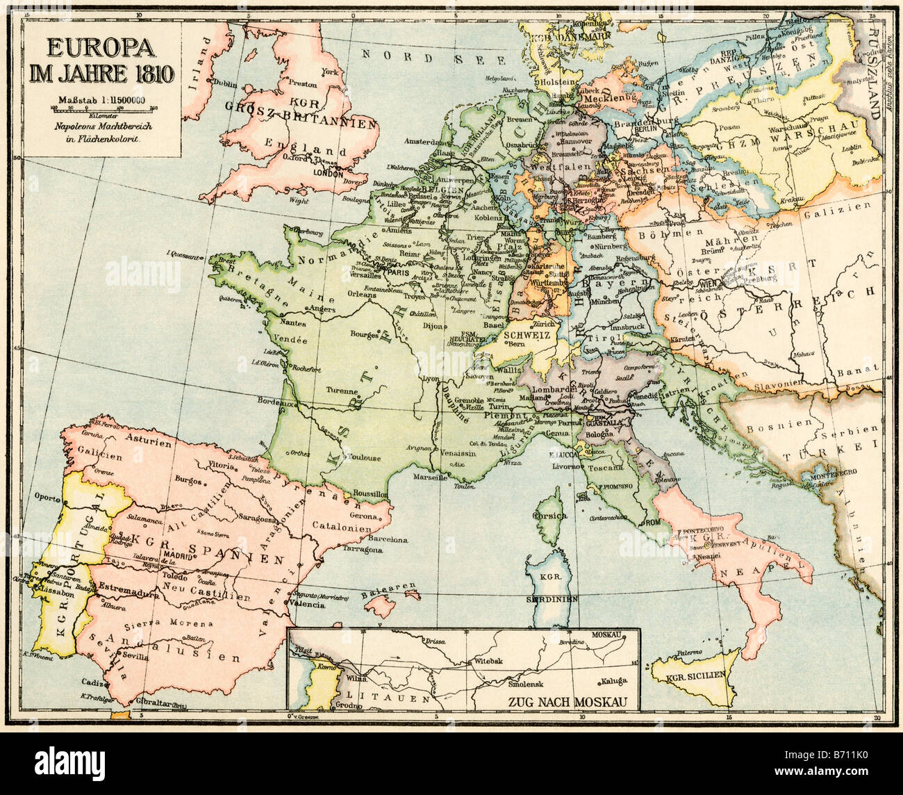 Map of Europe in 1810 during the Napoleonic Wars, labels in German. Color lithograph - Stock Image