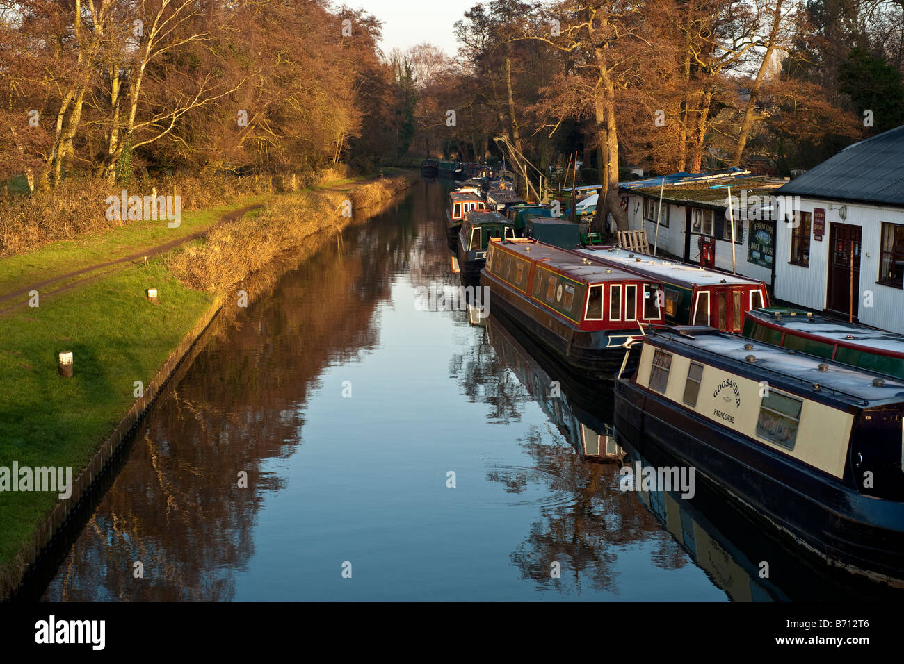 House boats in Godalming. - Stock Image