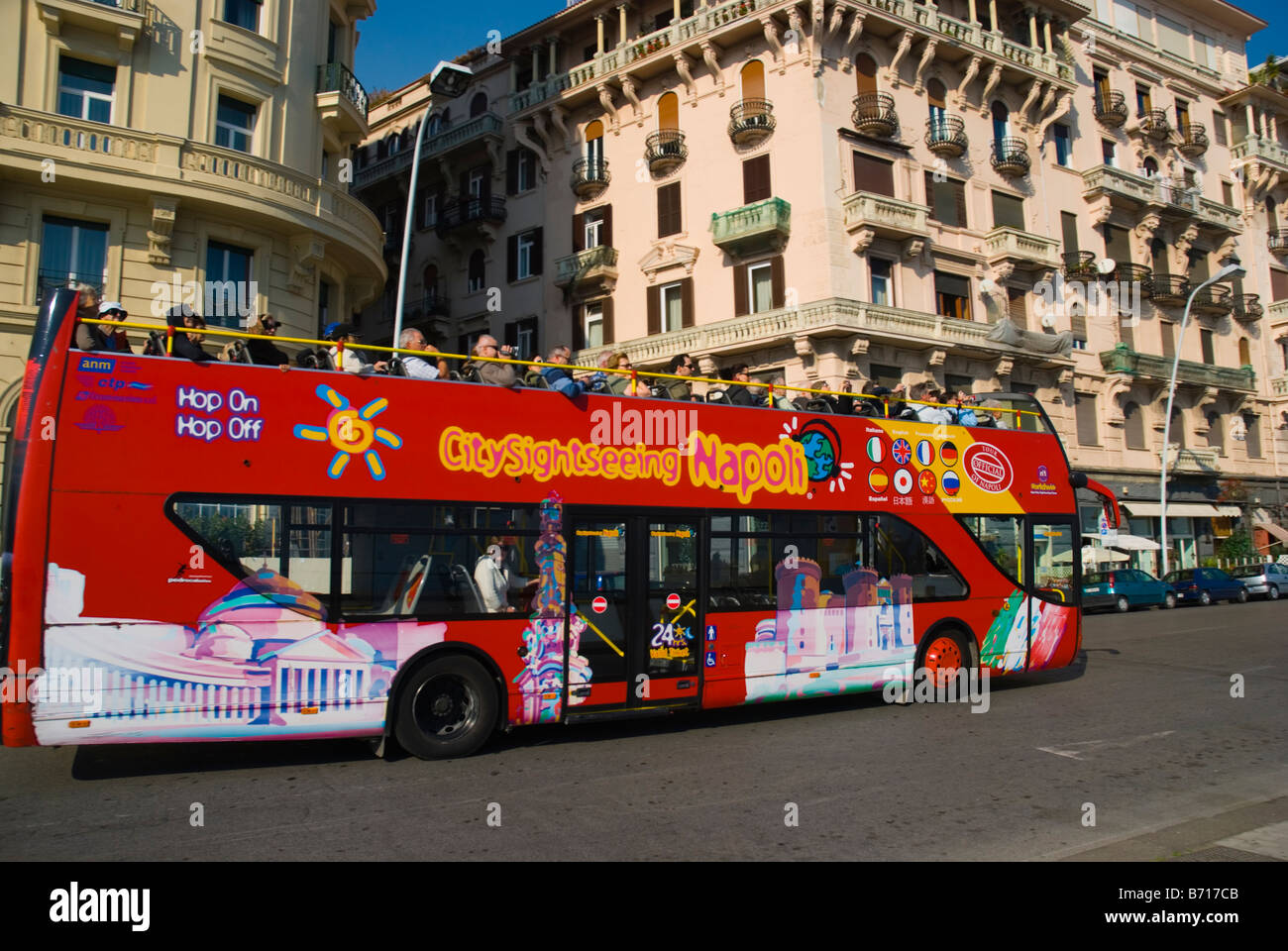 City sightseeing bus in central Naples Italy Europe - Stock Image