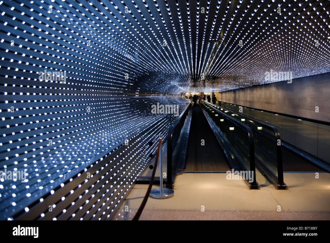 'Multiverse' by Leo Villareal, moving walkway in The Smithsonian National Gallery of Art building - Washington, - Stock Image