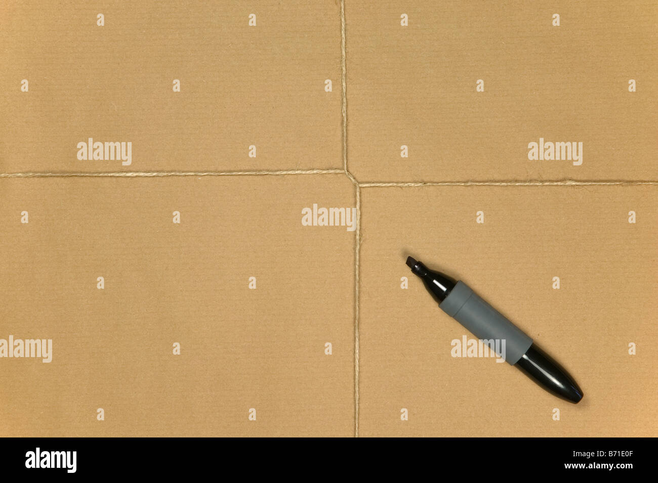 Blank brown paper parcel tied up with string and a marker pen - Stock Image