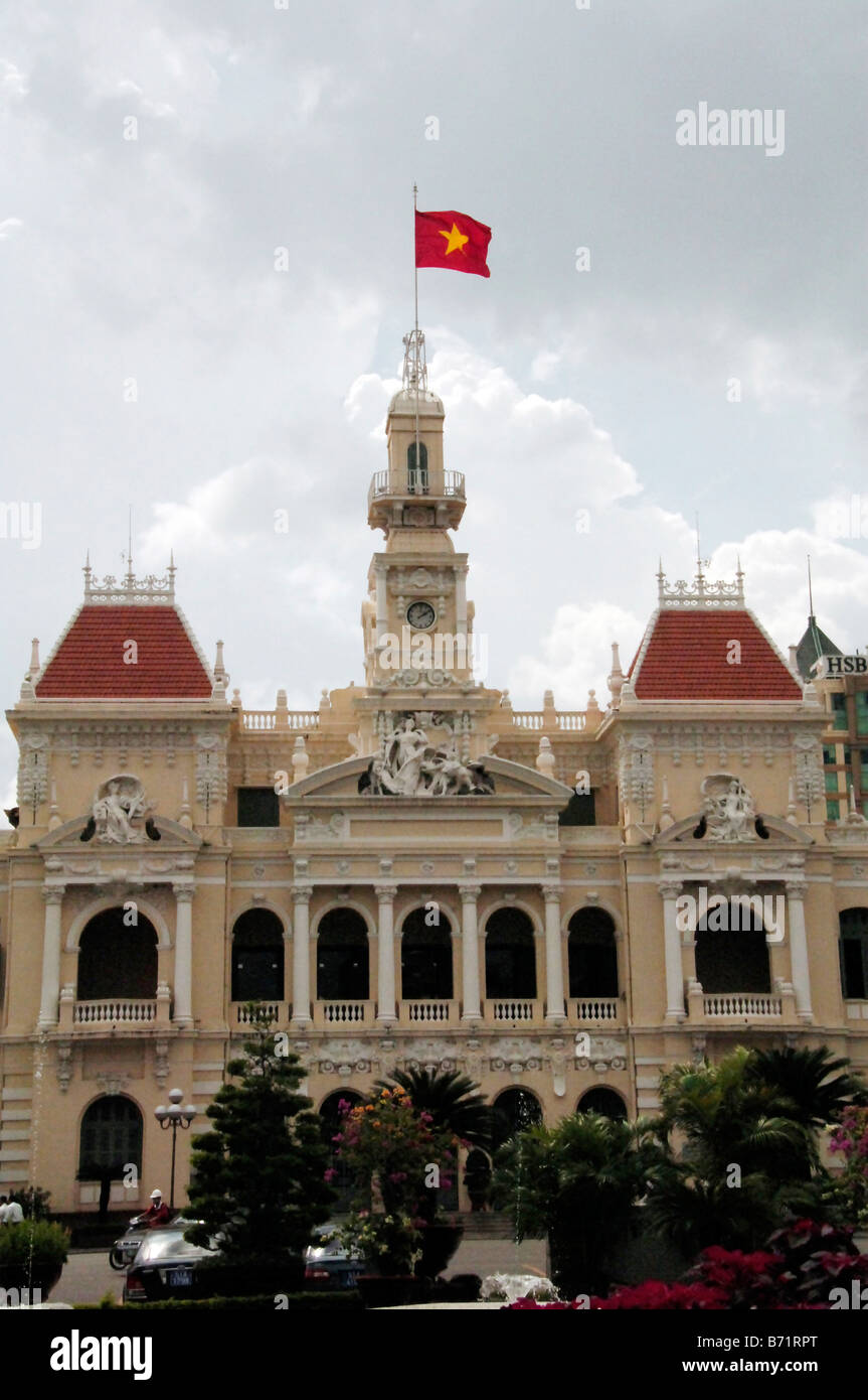 Hotel de Ville Ho Chi Minh City Now home of the People's  Committee Vietnam - Stock Image