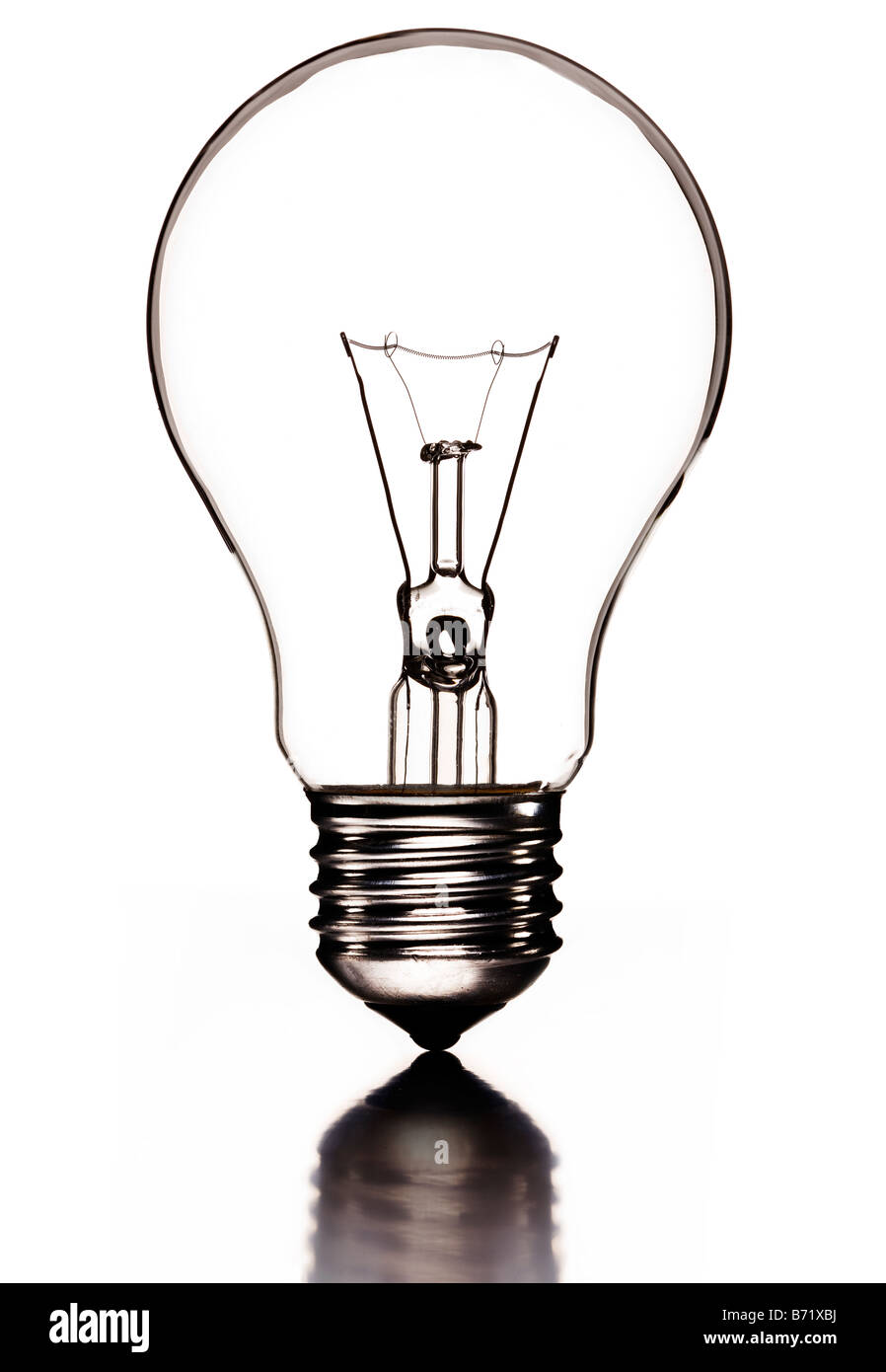 """Transparent lightbulb with filament and Edison Screw or """"ES"""" lamp fitting - Stock Image"""