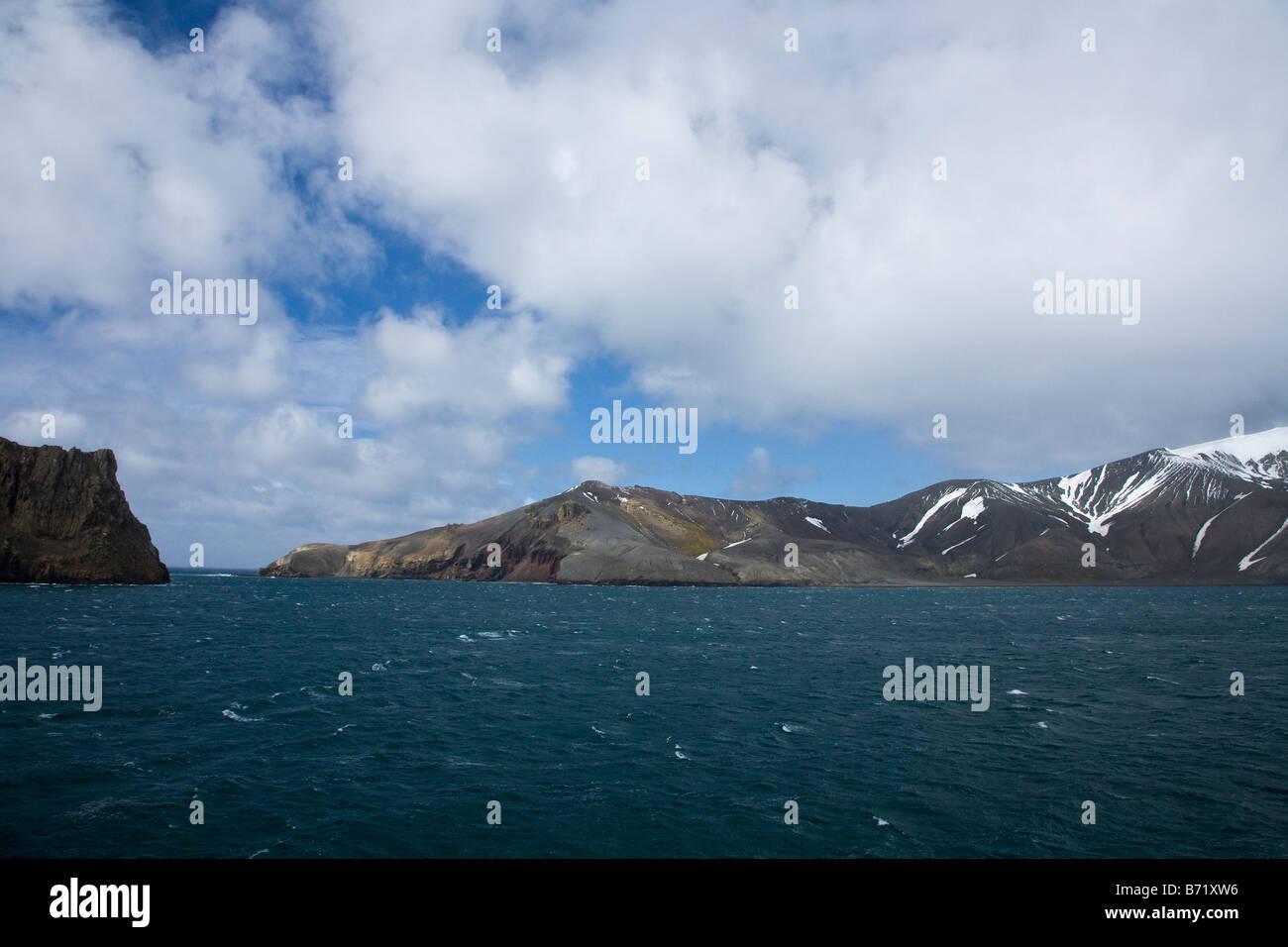 Neptune's Bellows entrance to the flooded caldera of Deception Island South Shetland Islands Antarctica - Stock Image
