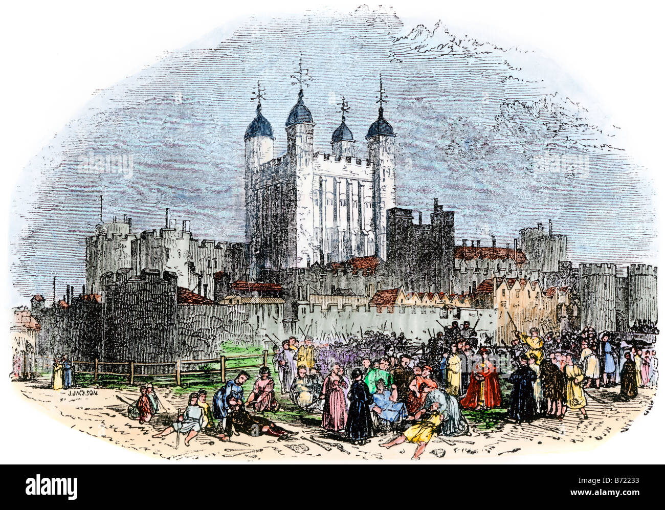 Tower of London under the reign of Henry VI 1400s. Hand-colored woodcut - Stock Image