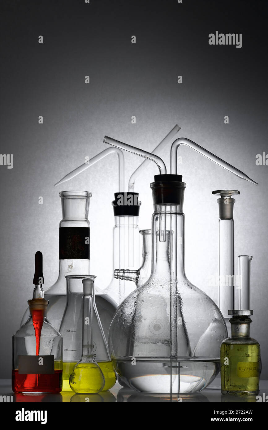 laboratory glass - test tubes and beakers - Stock Image