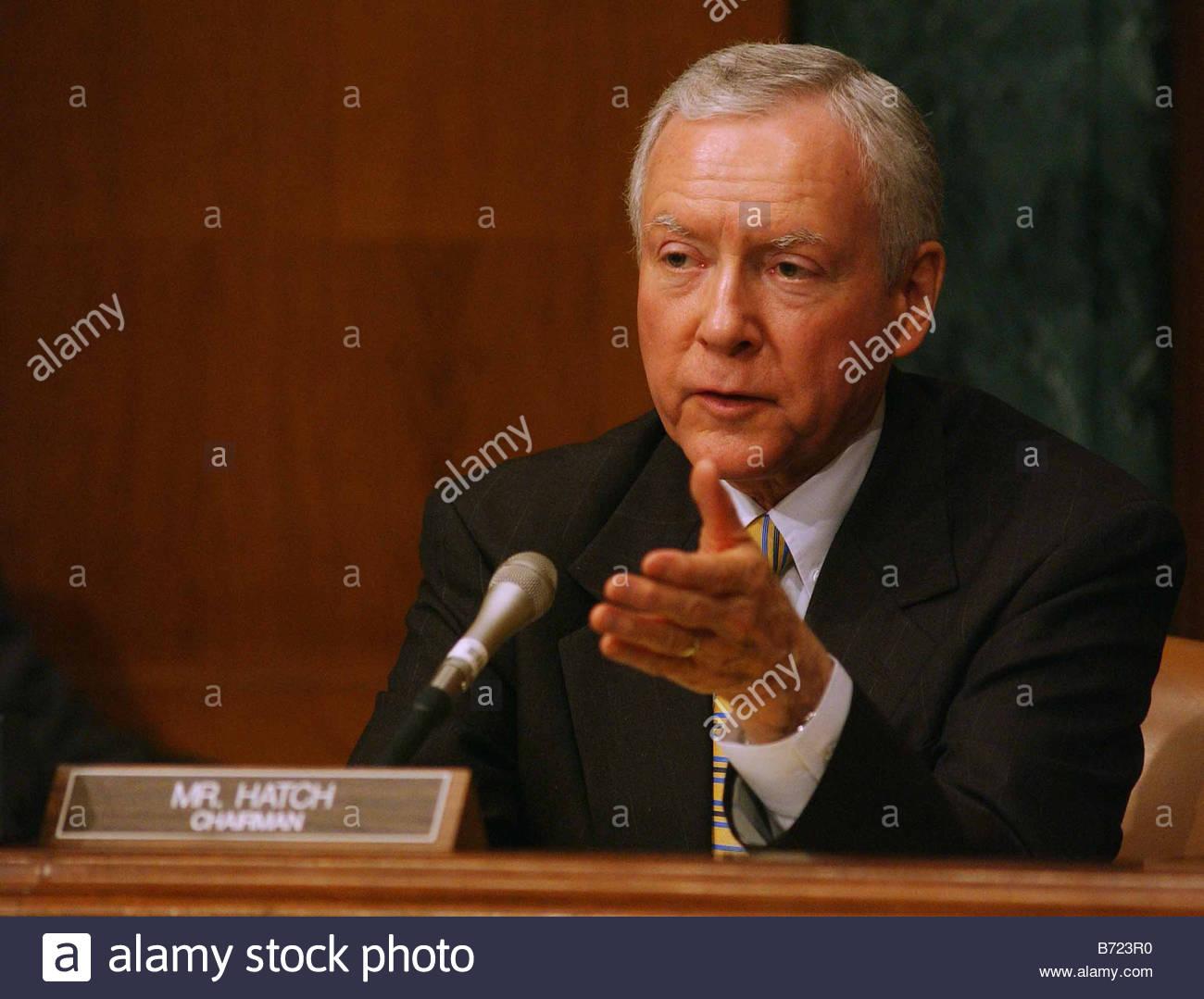 3 13 03 OWEN NOMINATION Senate Judiciary Chairman Orrin G Hatch R Utah during the nomination hearing for Priscilla - Stock Image