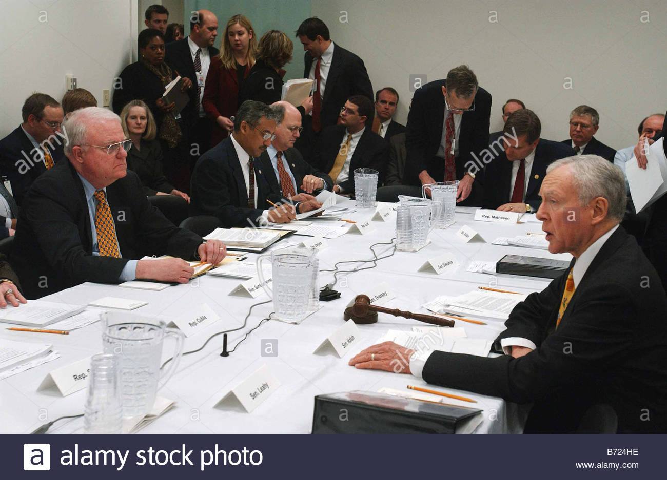 4 8 03 EXPLOITATION OF CHILDREN ACT House Judiciary Chairman F James Sensenbrenner Jr R Wis seated at far left and - Stock Image
