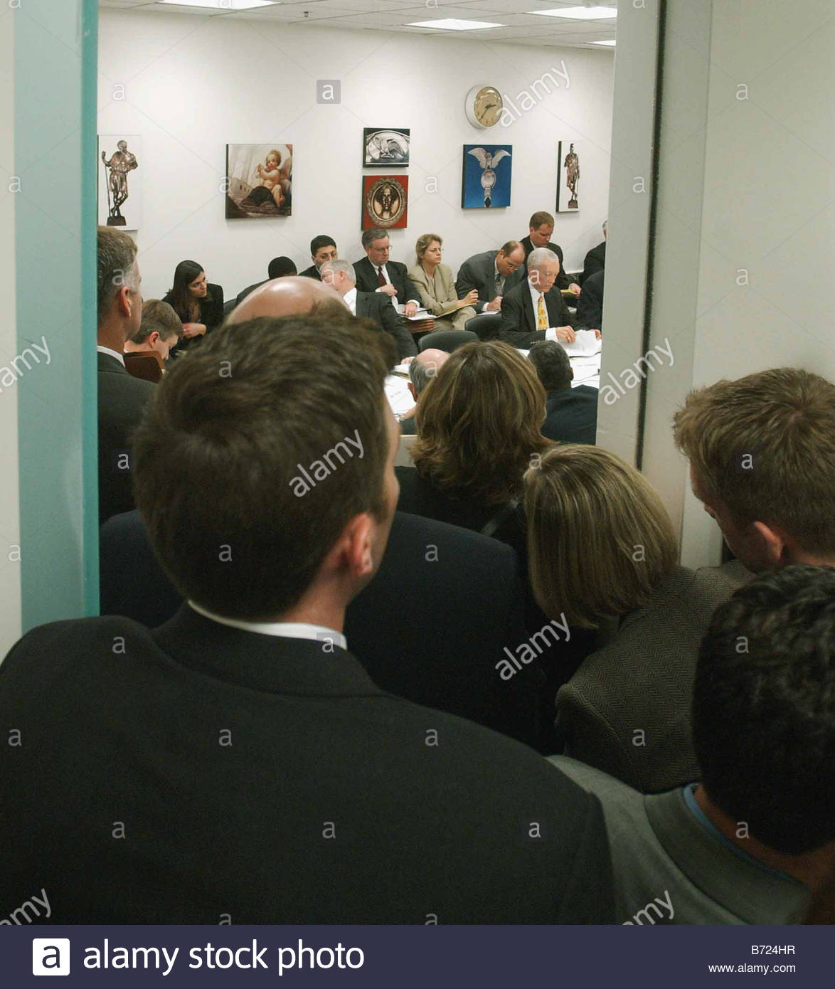 4 8 03 EXPLOITATION OF CHILDREN ACT A crowd jams a doorway to the small room where the House Judiciary Senate Judiciary - Stock Image