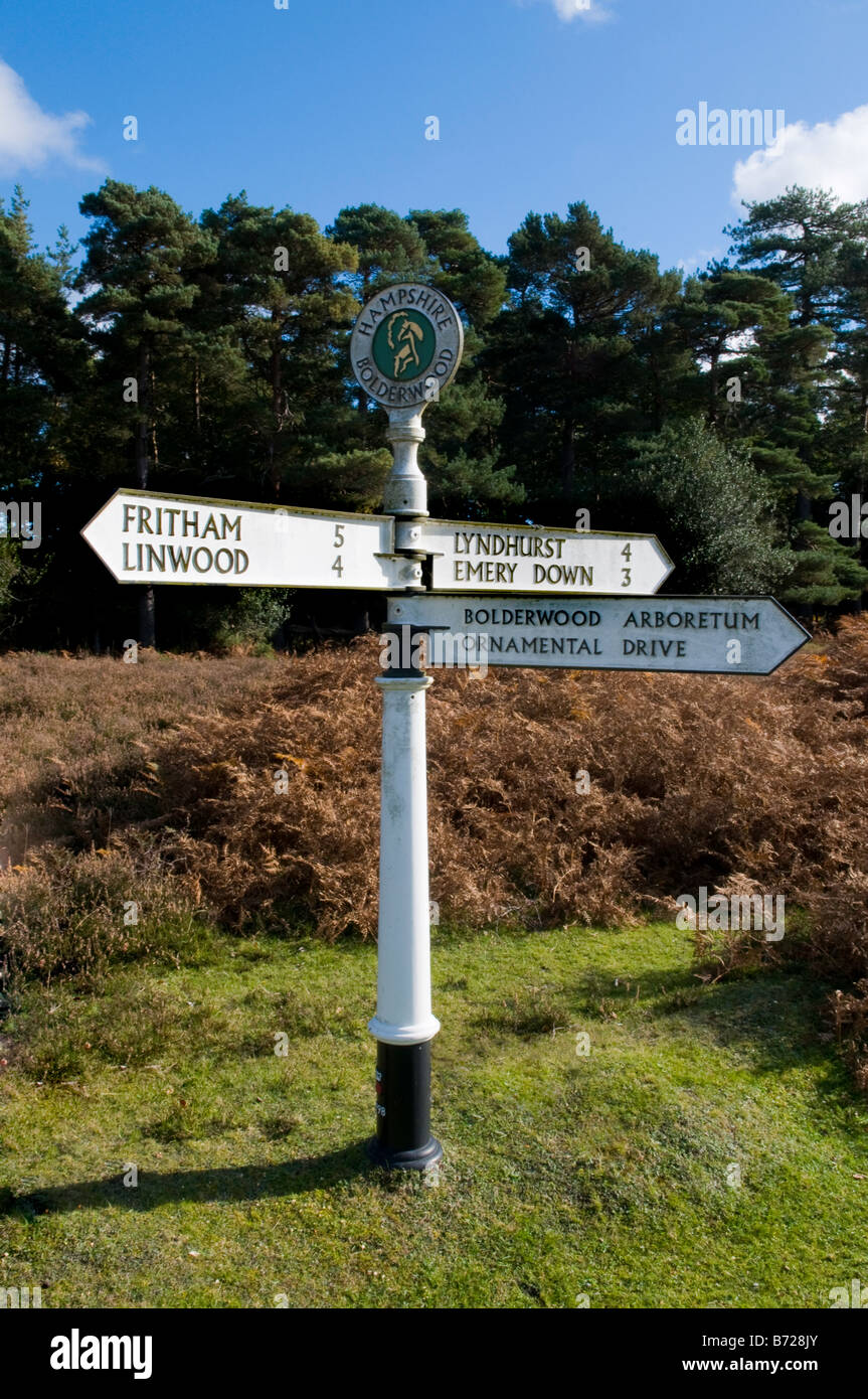 Signpost in the New Forest National Park, Hampshire, England, UK - Stock Image