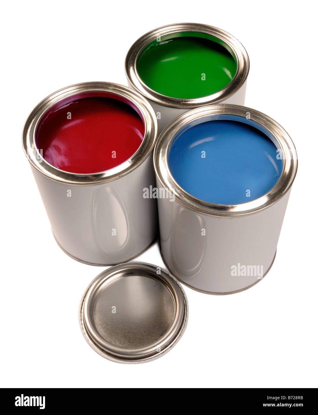 Red Green Blue paint tins - Stock Image