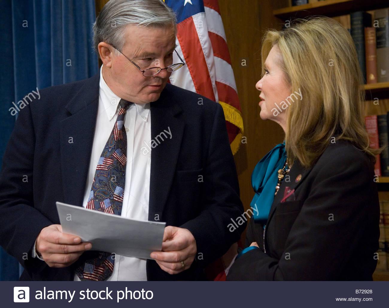 WASHINGTON DC Dec 06 House Energy Ranking Member Joe L Barton R Texas And  Rep Marsha Blackburn R Tenn Before A News Conference O