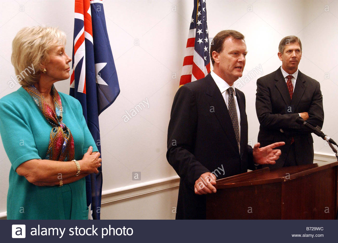 7 16 03 friends of australia congressional caucus jennifer dunn r 7 16 03 friends of australia congressional caucus jennifer dunn r wash and cal dooley d calif during a news conference announcing the formation of the stopboris Images