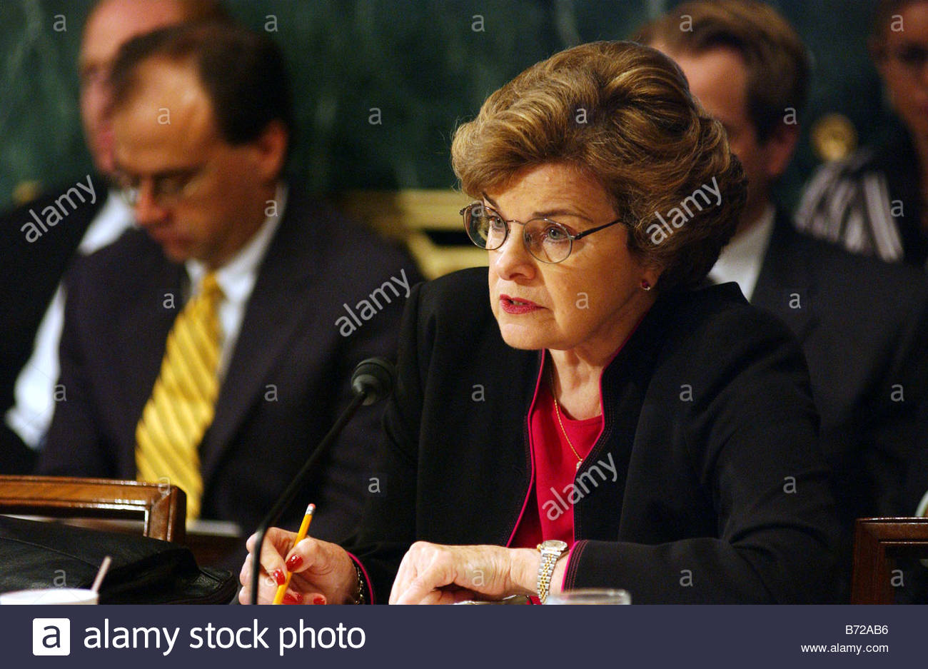 7 29 03 VICTIMS RIGHTS Sen Dianne Feinstein D Calif during the Senate Judiciary markup of a joint resolution proposing - Stock Image