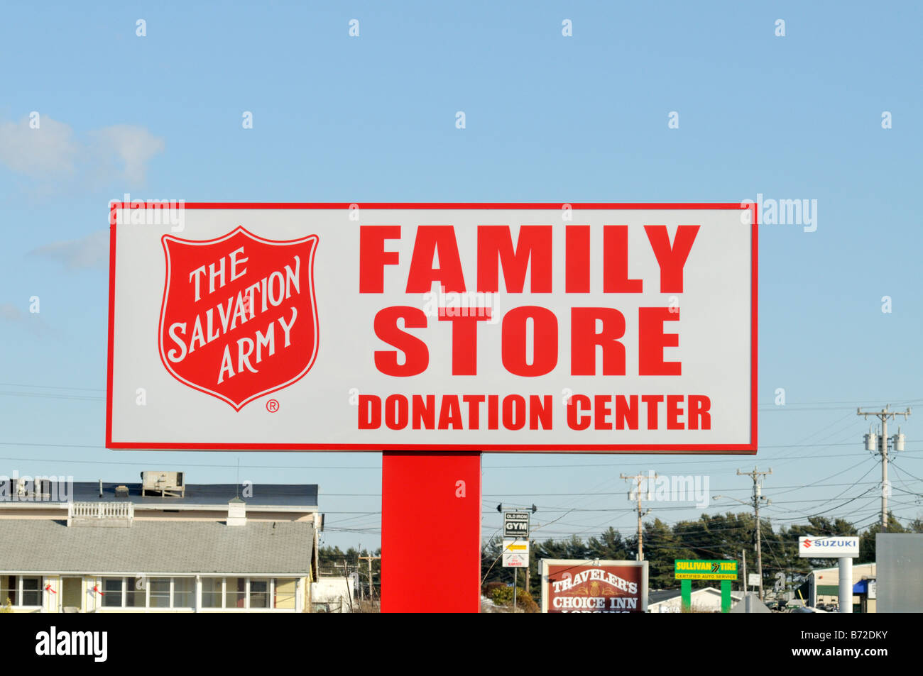 Sign for The Salvation Army family store and donation center - Stock Image