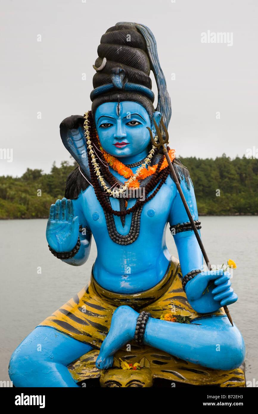 Hindu god Shiv at Grand Bassin Hindu temple Mauritius - Stock Image